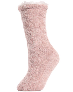 Cable Chenille Plush Lined Slipper Socks