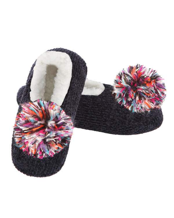 Cuddly Pompom Chenille Slipper | Slippers By MeMoi®  | MZP05402 | Black