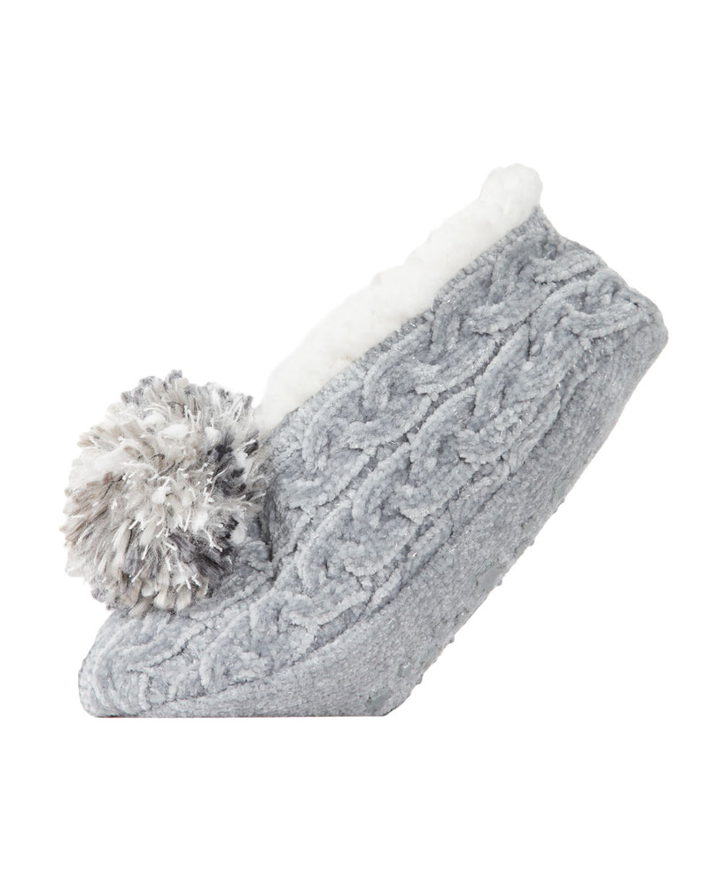 Cable Knit Pompom Slipper | Slippers By MeMoi®  | MZP05403 | Gray 2