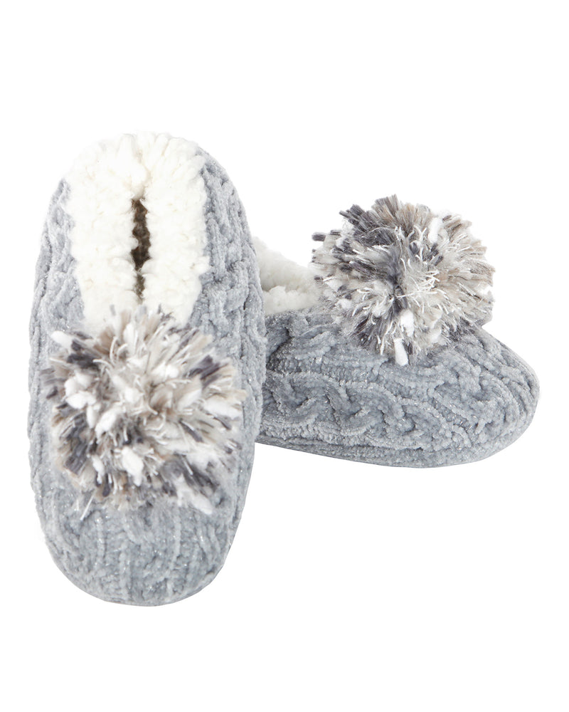 Cable Knit Pompom Slipper | Slippers By MeMoi®  | MZP05403 | Gray