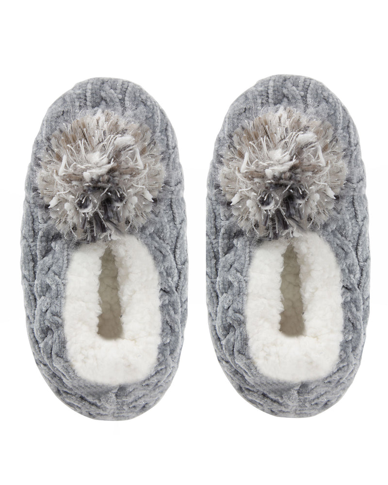 Cable Knit Pompom Slipper | Slippers By MeMoi®  | MZP05403 | Gray 1