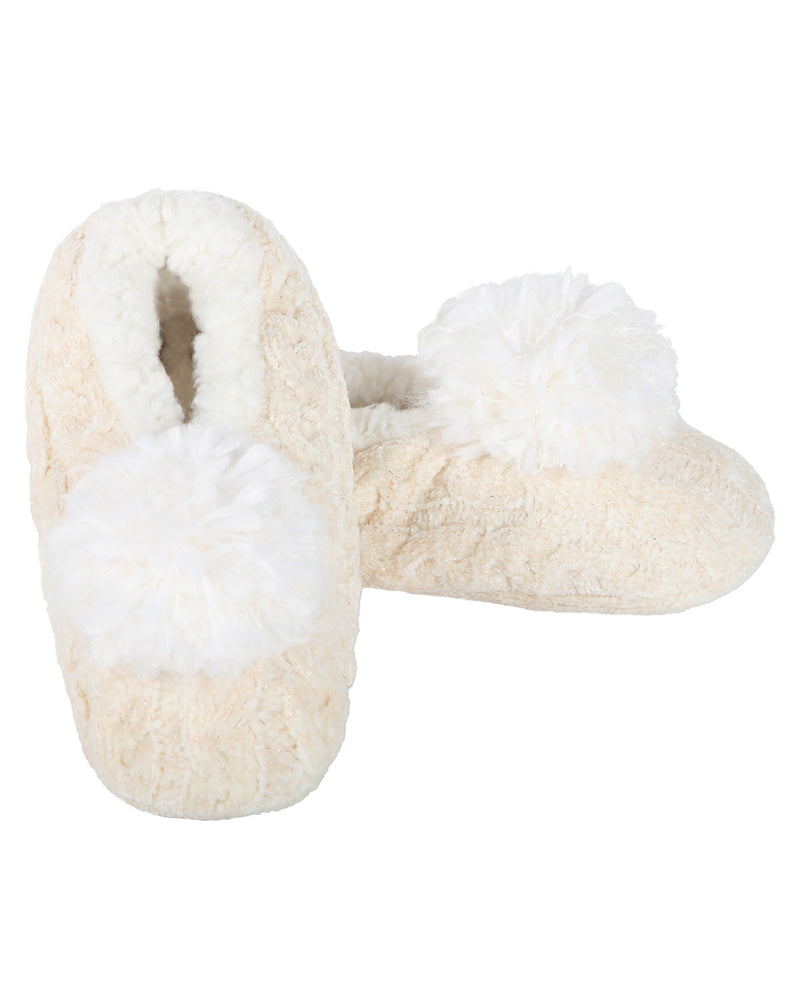 Cable Knit Pompom Slipper | Slippers By MeMoi®  | MZP05403 | Ivory