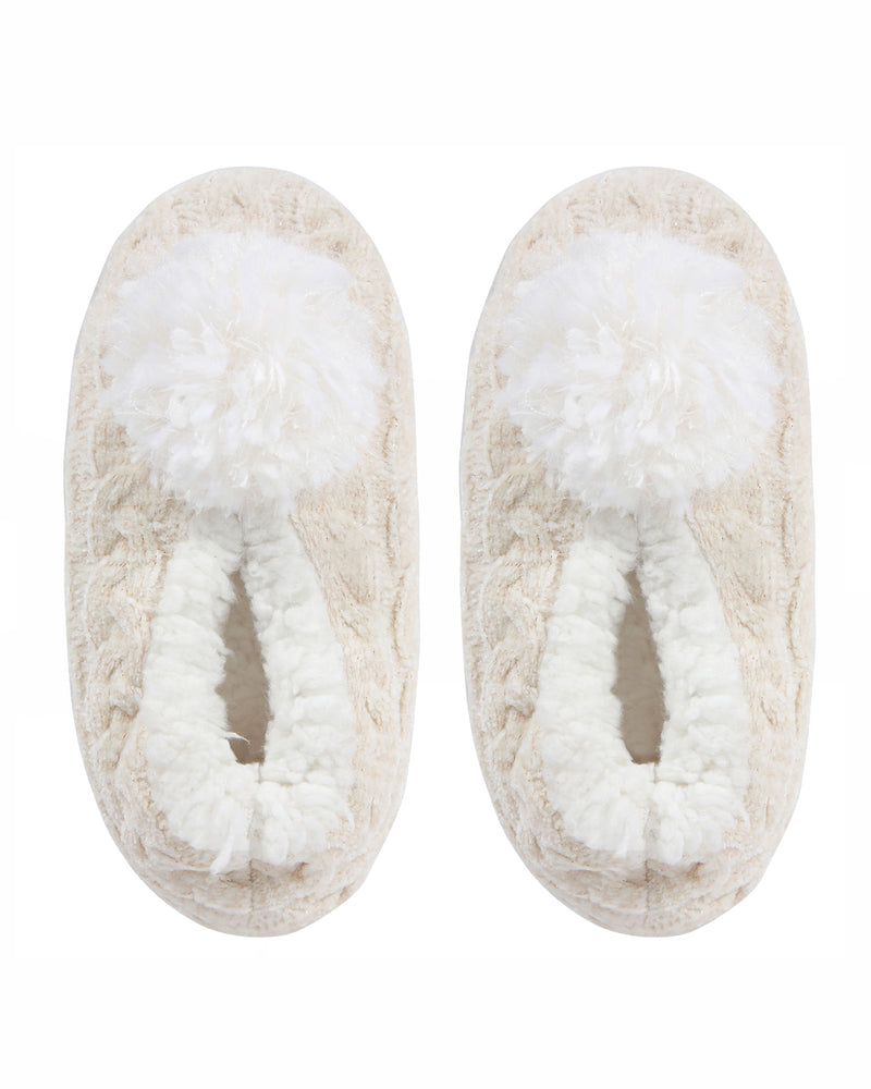 Cable Knit Pompom Slipper | Slippers By MeMoi®  | MZP05403 | Ivory 1