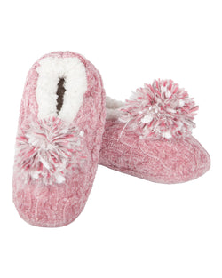 Cable Knit Pompom Slipper | Slippers By MeMoi®  | MZP05403 | Pink
