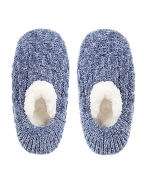 Classic Cable Knit Chenille Slipper | Slippers By MeMoi®  | MZP05404 | Denim 1