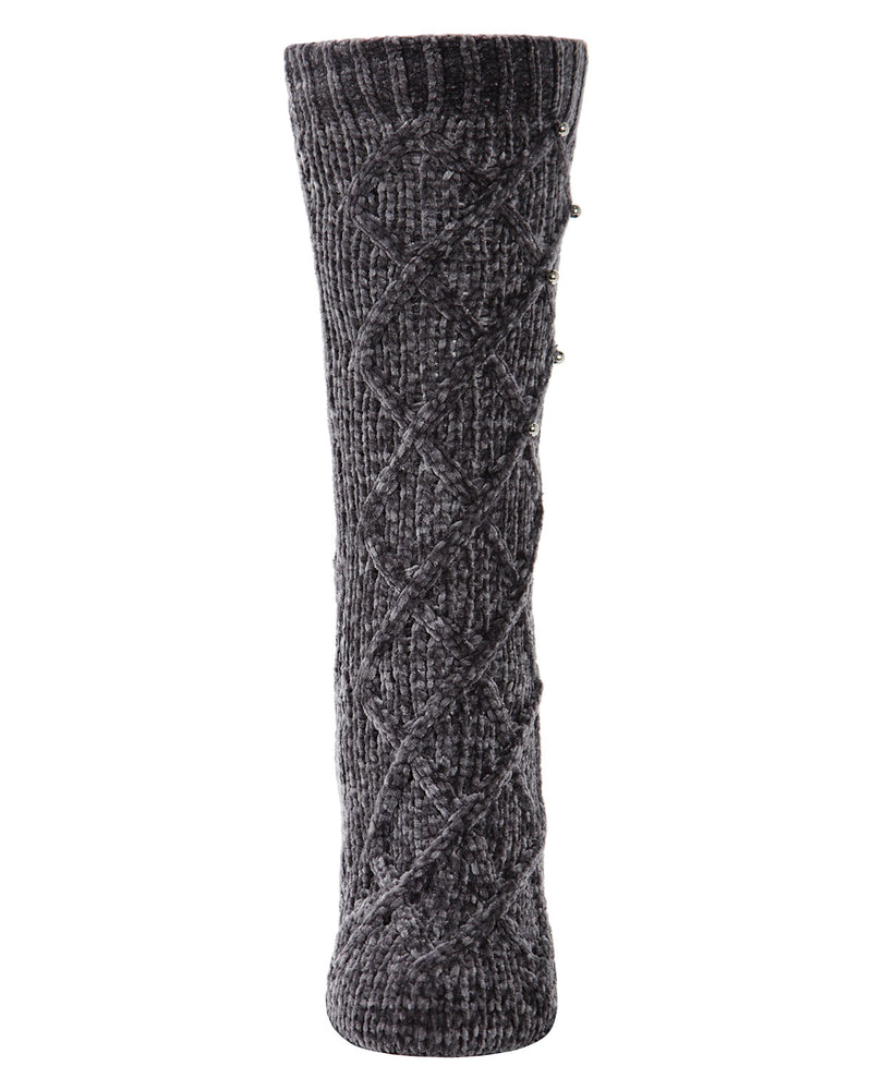 Pearl Lattice Plush Lined Slipper Sock | Slipper Sock By MeMoi®  | MZP05405 | Gray 1