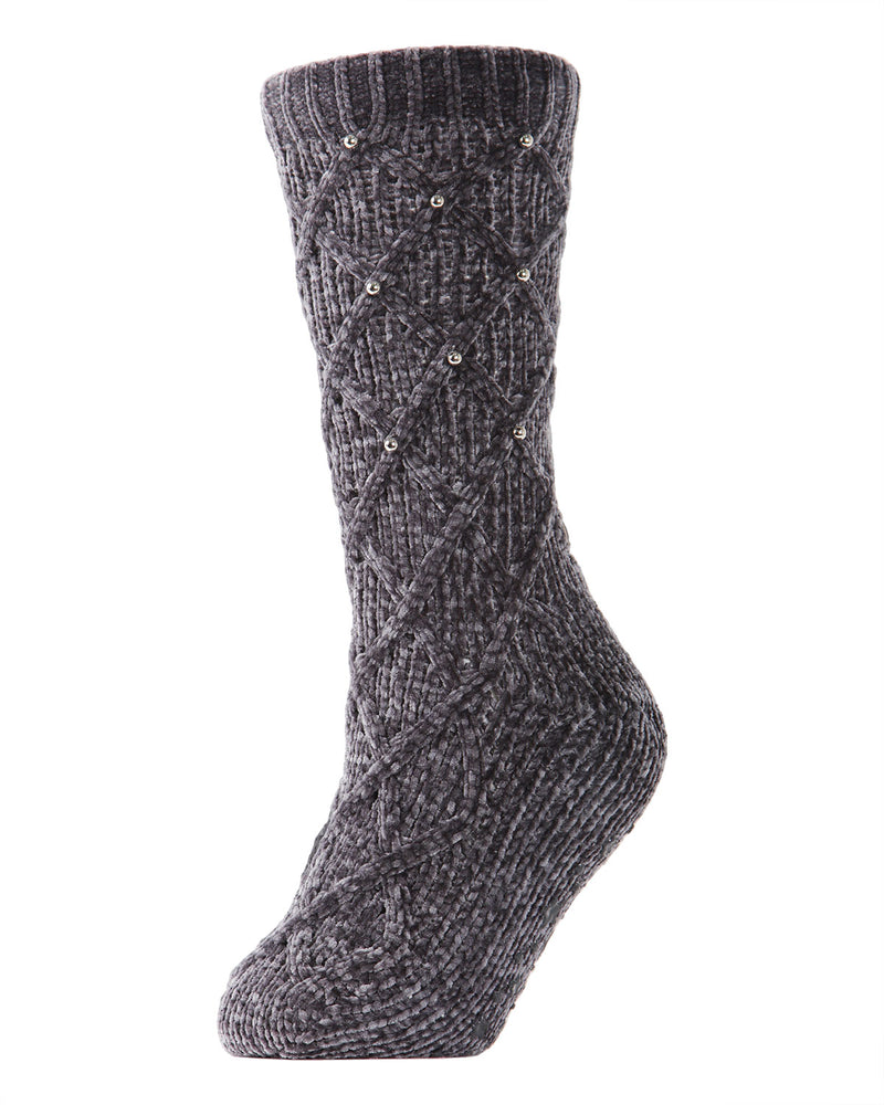 Pearl Lattice Plush Lined Slipper Sock | Slipper Sock By MeMoi®  | MZP05405 | Gray