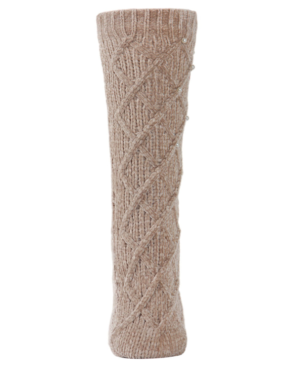 Pearl Lattice Plush Lined Slipper Sock | Slipper Sock By MeMoi®  | MZP05405 | Taupe 1