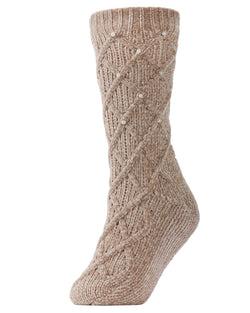 Pearl Lattice Plush Lined Slipper Sock | Slipper Sock By MeMoi®  | MZP05405 | Taupe