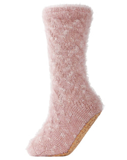 Fifth Avenue Plush Lined Slipper Sock | Slipper Sock By MeMoi®  | MZP05406 | Pink