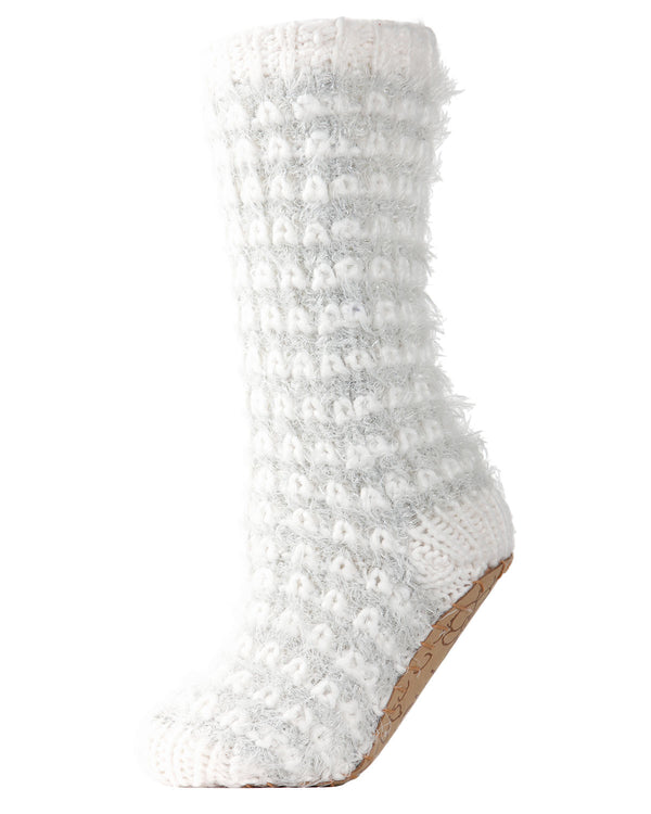 Metallic Luxe Plush Lined Slipper Sock | Slipper Sock By MeMoi®  | MZP05407 | Ivory