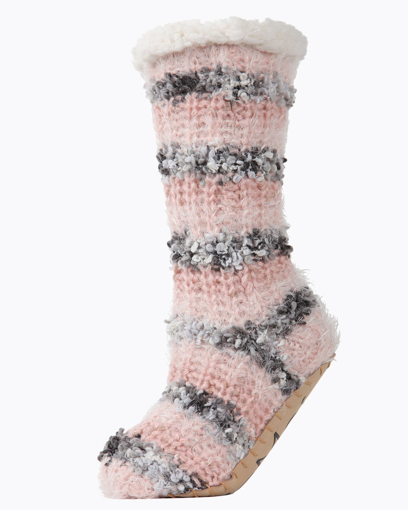 Striped Chunky Knit Plush Lined Slipper Sock | Slipper Sock By MeMoi®  | MZP05408 | Pink
