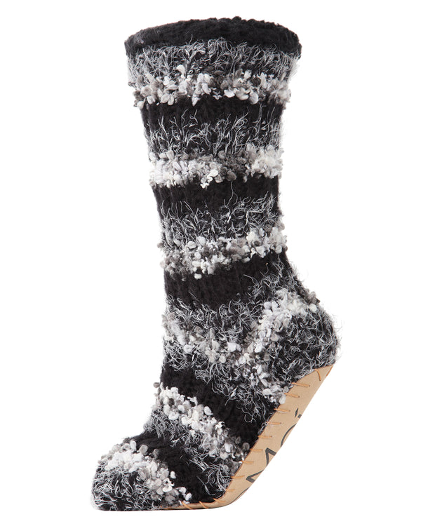 Striped Chunky Knit Plush Lined Slipper Sock