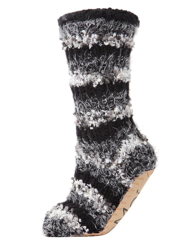 Striped Chunky Knit Plush Lined Slipper Sock | Slipper Sock By MeMoi®  | MZP05408 | Black