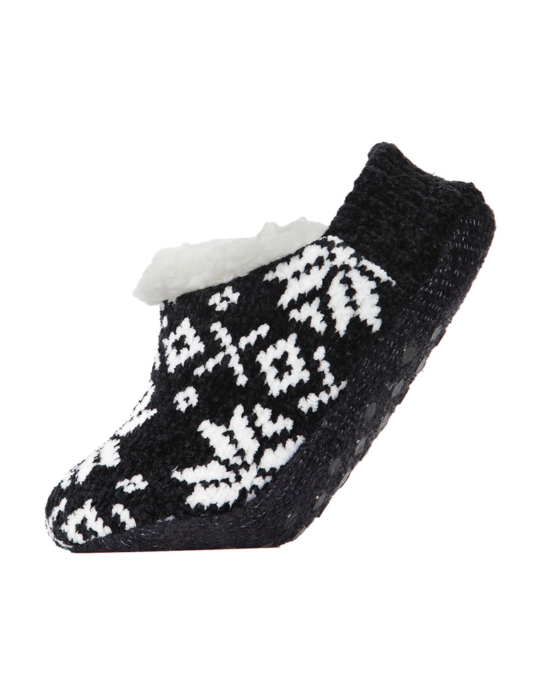 XOXO Nordic Plush Lined Slippers | Sock By MeMoi®  | MZP05409  | Black 2