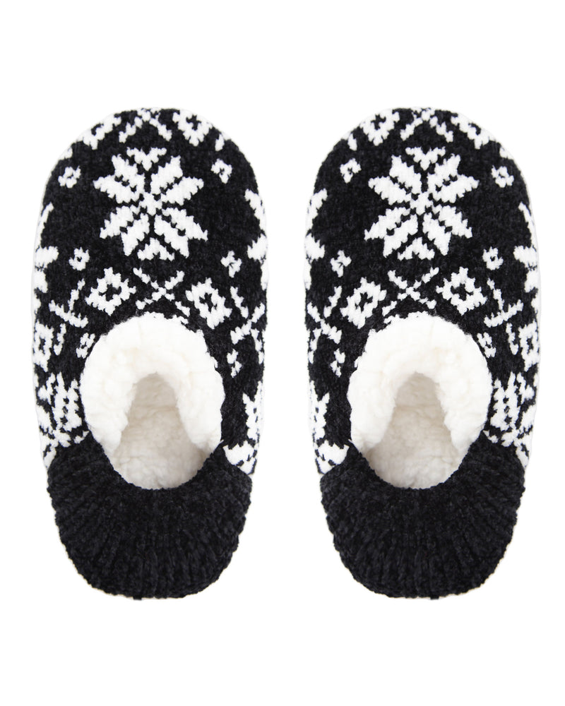 XOXO Nordic Plush Lined Slippers | Sock By MeMoi®  | MZP05409  | Black 1
