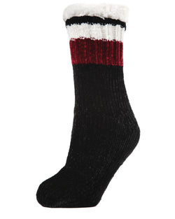 Varsity Chenille Plush Lined Slipper Sock | plush sliper socks for Women | womens clothing |  MZP05410-0001 black -1