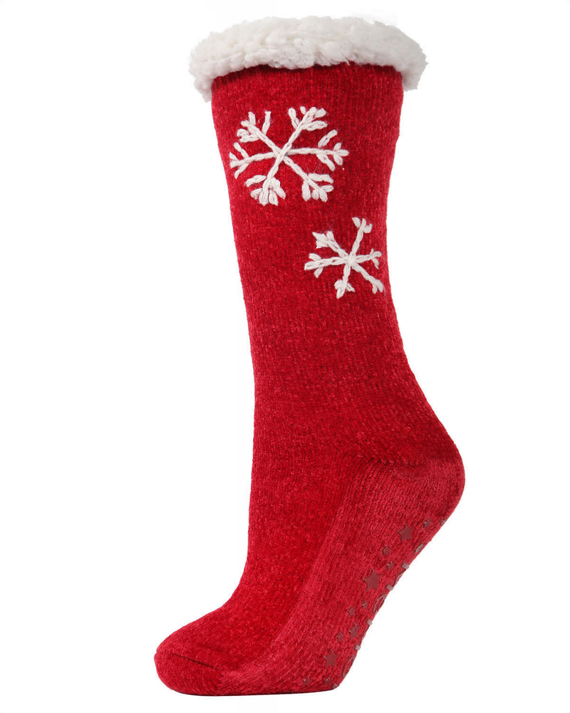 Sweet Snowflake Plush Lined Slipper Sock | Slipper Sock By MeMoi®  | MZP05411 | Red