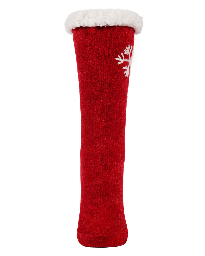 Sweet Snowflake Plush Lined Slipper Sock | Slipper Sock By MeMoi®  | MZP05411 | Red 1
