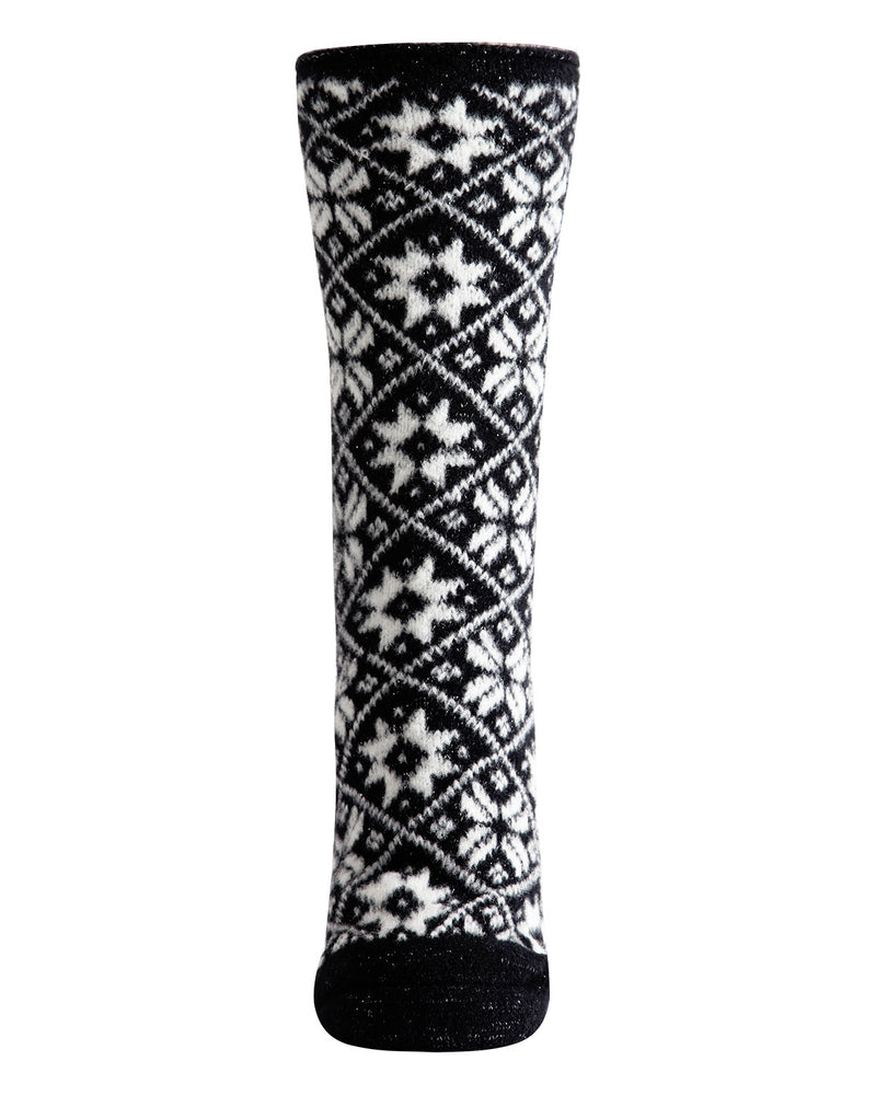 Holiday Snowflake Plush Lined Slipper Sock | Slipper Sock By MeMoi®  | MZP05412 | Black 1