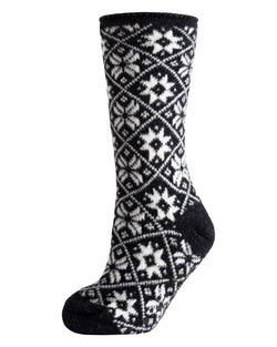 Holiday Snowflake Plush Lined Slipper Sock | Slipper Sock By MeMoi®  | MZP05412 | Black