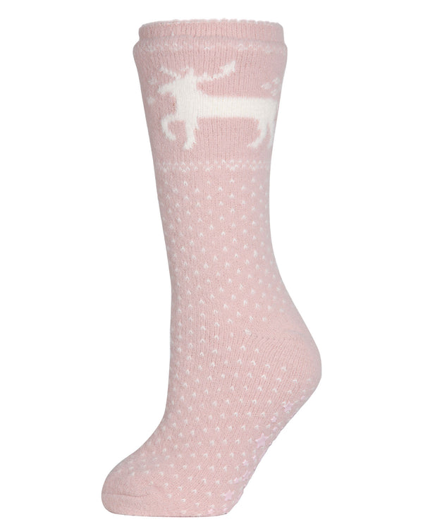 Pretty Prancer Plush Lined Slipper Sock | Slipper Sock By MeMoi®  | MZP05413 | Pink