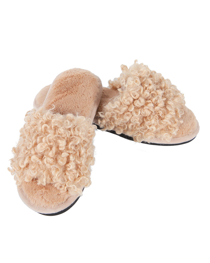 C'est Bon Open Toe Plush Slippers | Slippers By MeMoi®  | MZP05443  | Beige