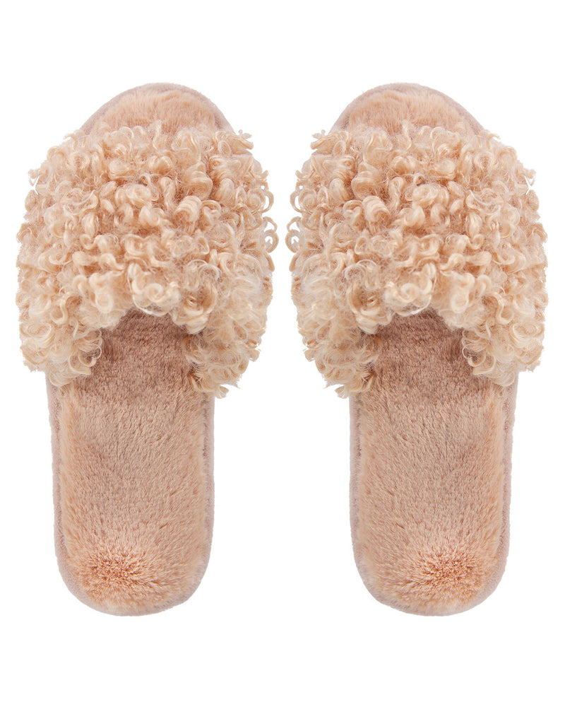 C'est Bon Open Toe Plush Slippers | Slippers By MeMoi®  | MZP05443  | Beige 1