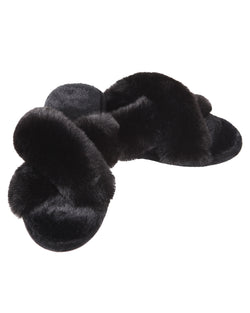 Beverly Fur Open Toe Plush Slipper