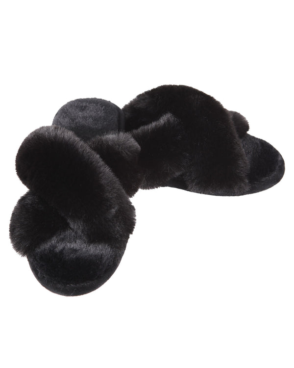 Beverly Fur Open Toe Plush Slipper | Slippers By MeMoi®  | MZP05445 | Black