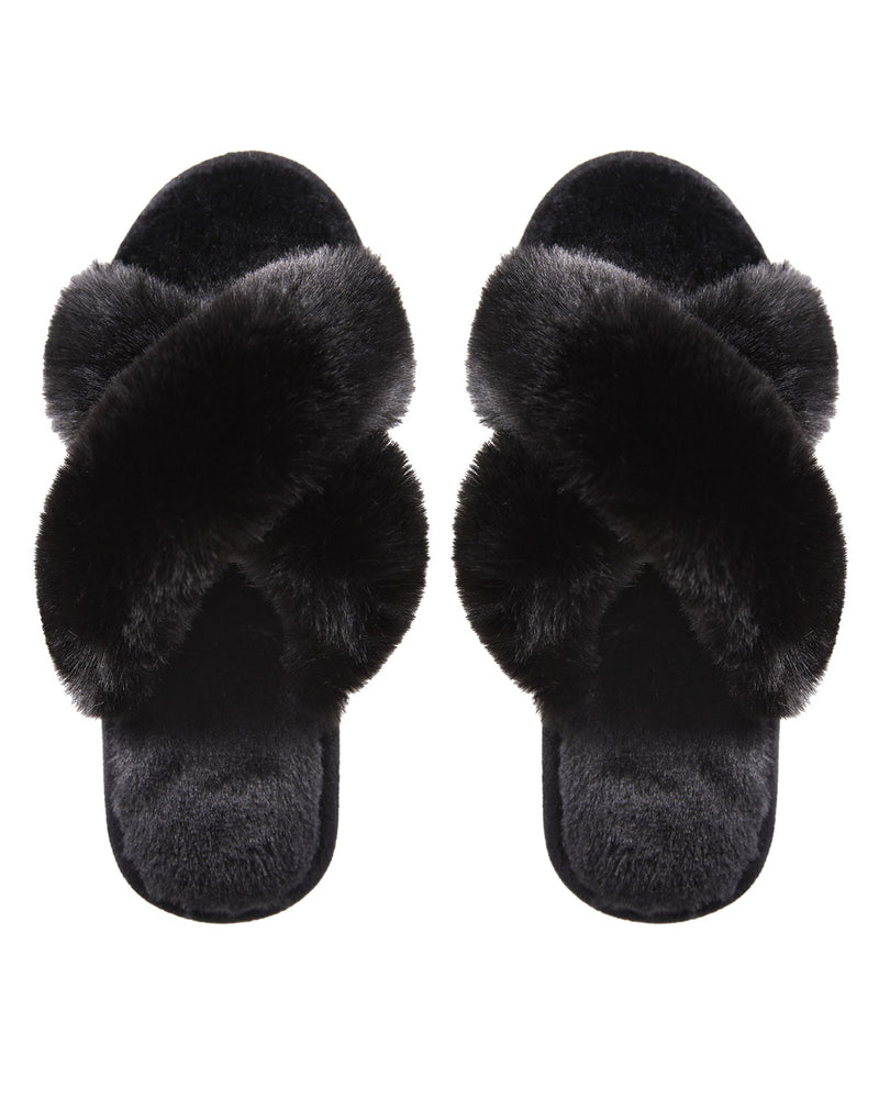 Beverly Fur Open Toe Plush Slipper | Slippers By MeMoi®  | MZP05445 | Black 1