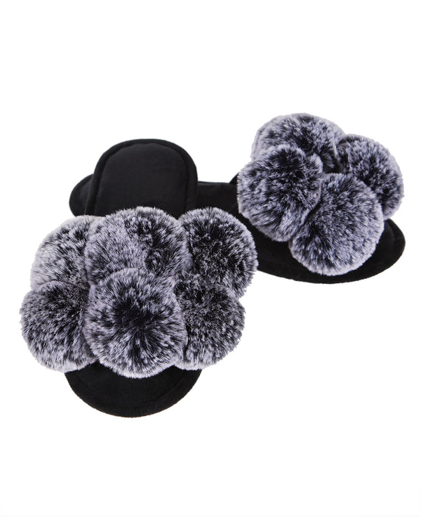 Luxe Pompom Open Toe Plush Slippers | Hot flats Slippers By MeMoi®  | MZP05446  | Black