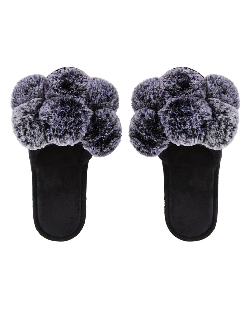 Luxe Pompom Open Toe Plush Slippers | Slippers By MeMoi®  | MZP05446  | Black 1