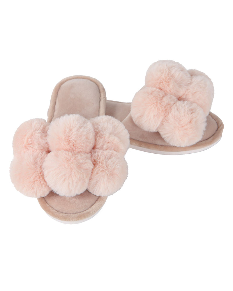 Luxe Pompom Open Toe Plush Slippers | Slippers By MeMoi®  | MZP05446  | Blush