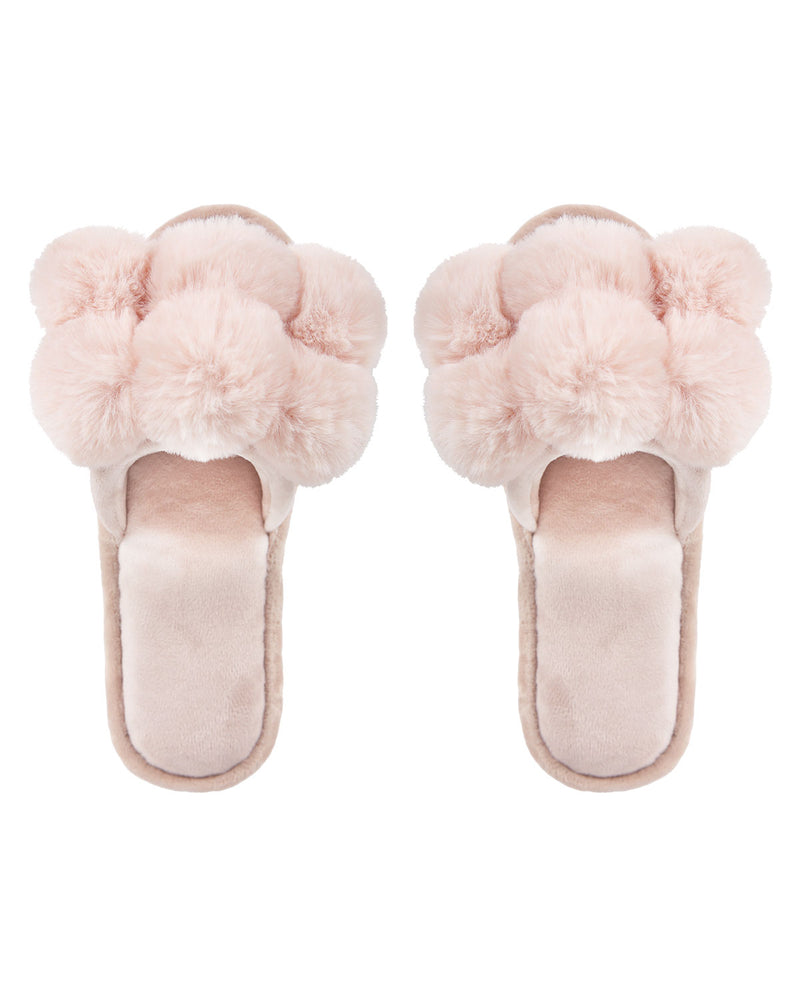 Luxe Pompom Open Toe Plush Slippers | Slippers By MeMoi®  | MZP05446  | Blush 1