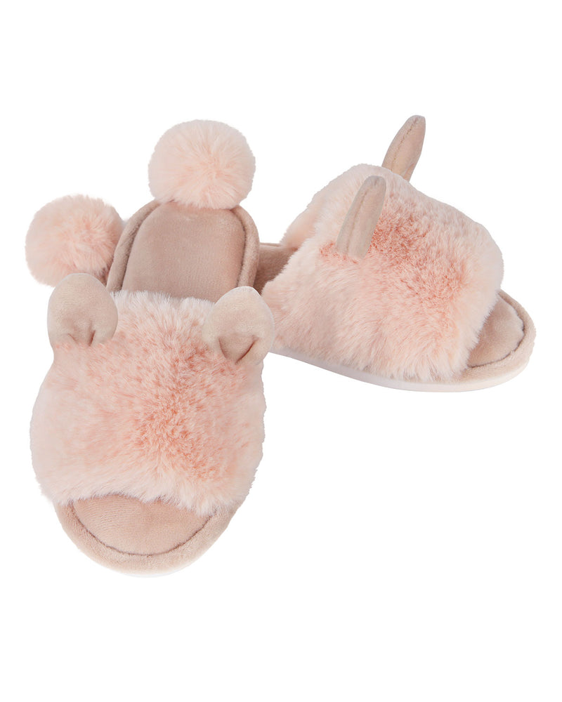 Bunny Hop Pompom Open Toe Plush Slippers | Slippers By MeMoi®  | MZP05447 | Blush