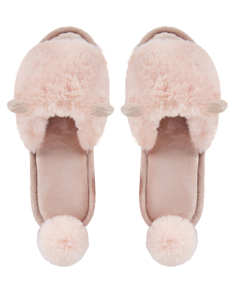 Bunny Hop Pompom Open Toe Plush Slippers | Slippers By MeMoi®  | MZP05447 | Blush 1