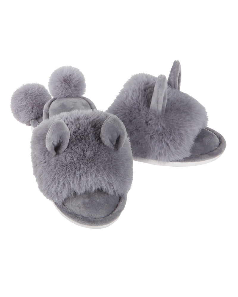 Bunny Hop Pompom Open Toe Plush Slippers | Slippers By MeMoi®  | MZP05447  | Gray