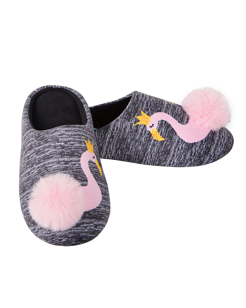 Royal Flamingo Pompom Plush Slippers | Slippers By MeMoi®  | MZP05448 | Gray