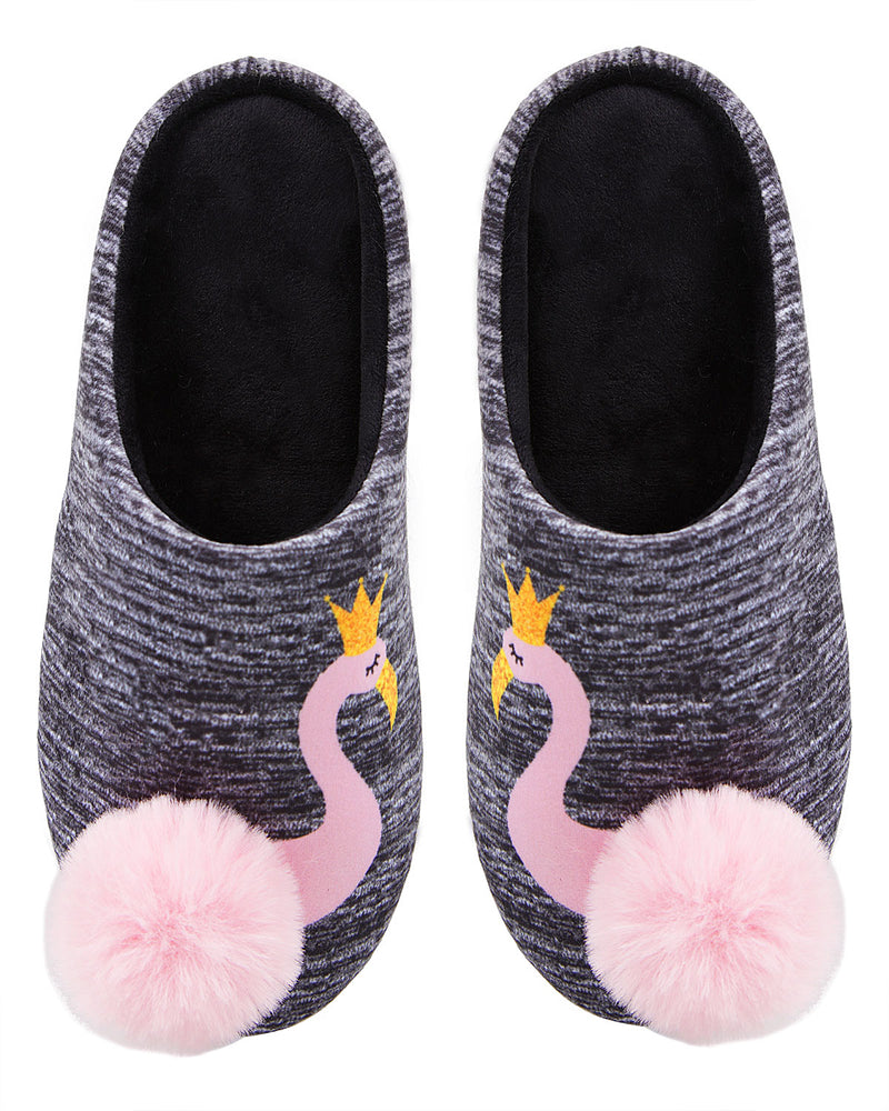 Royal Flamingo Pompom Plush Slippers | Slippers By MeMoi®  | MZP05448 | Gray 1