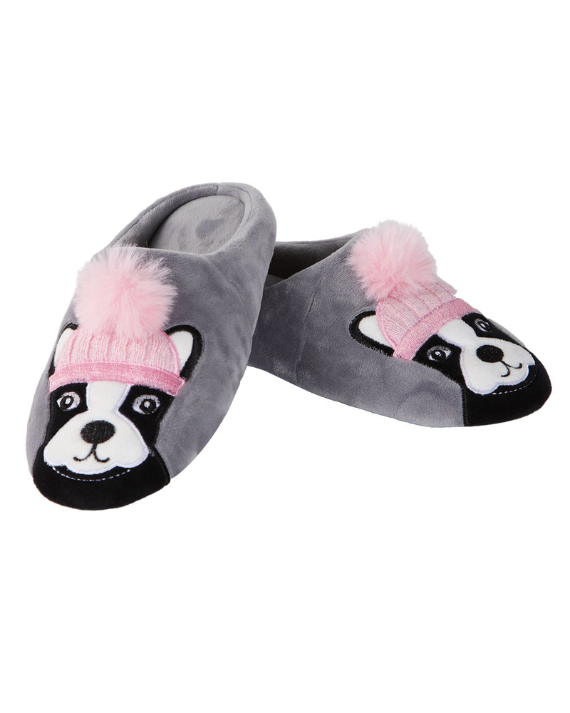 Dog Dame Plush Slippers | Slippers By MeMoi®  | MZP05449 | Gray