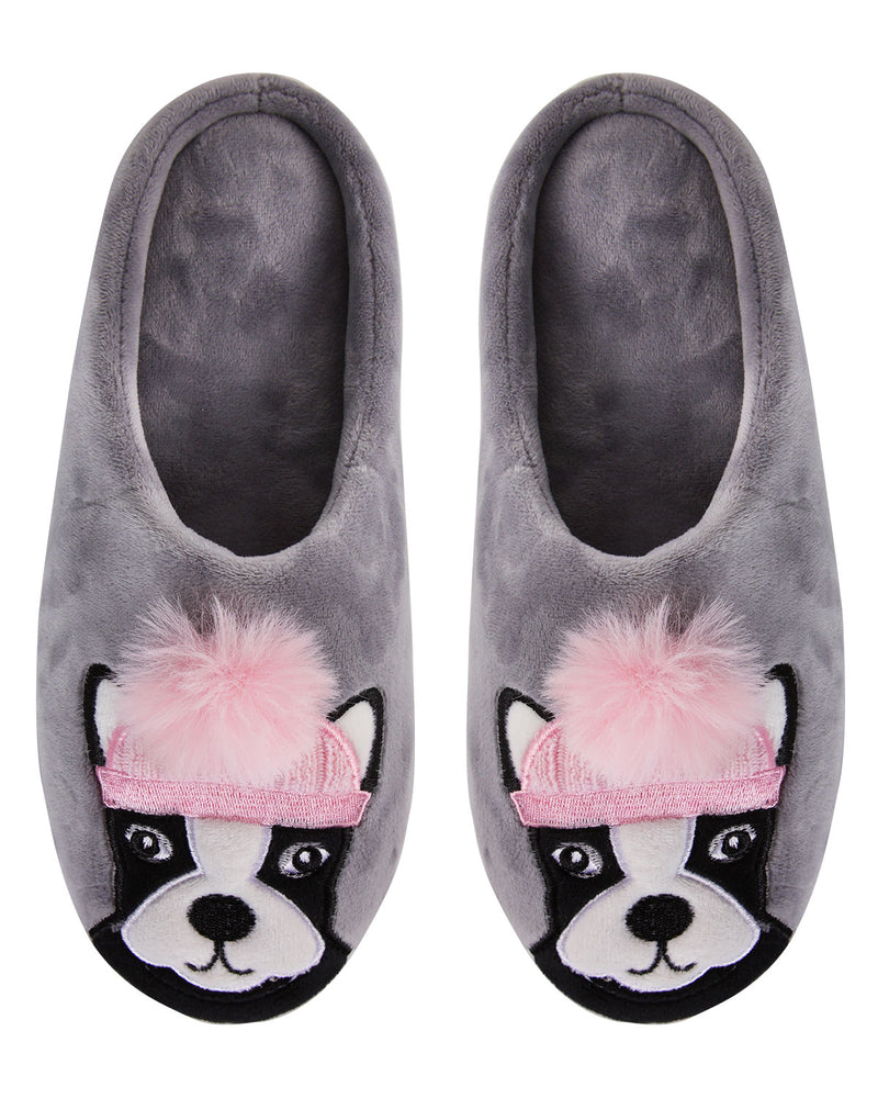 Dog Dame Plush Slippers | Slippers By MeMoi®  | MZP05449 | Gray 1