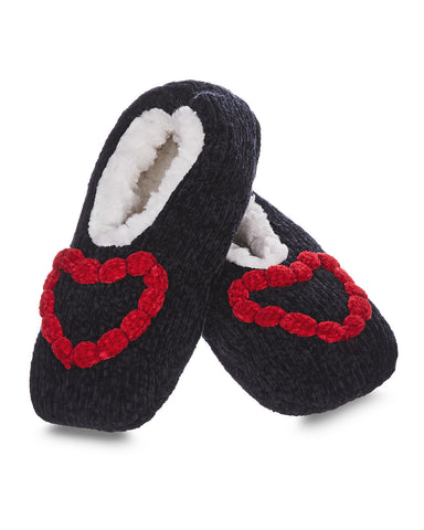Cozy Heart Chenille Sherpa-Lined Slippers