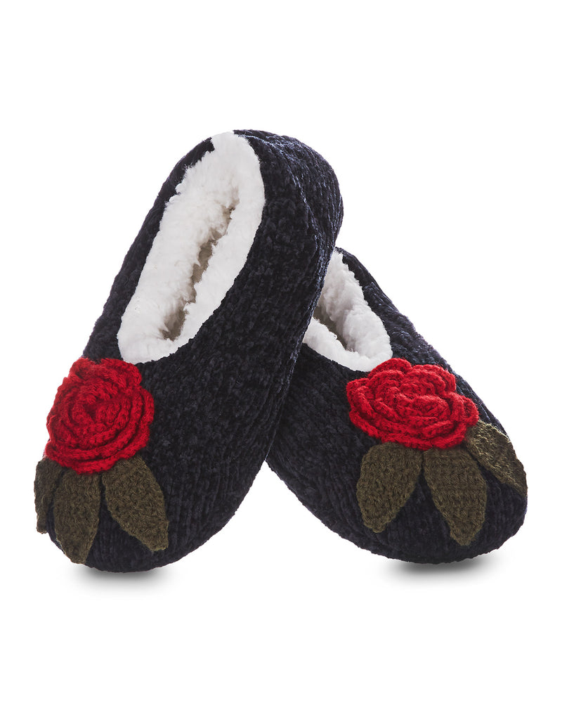 Winter Rose Chenille Sherpa-Lined Slippers
