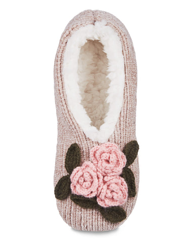 Coming Up Roses Chenille Sherpa-Lined Slippers
