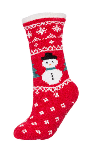 Snowman Chenille Plush Lined Slipper Socks