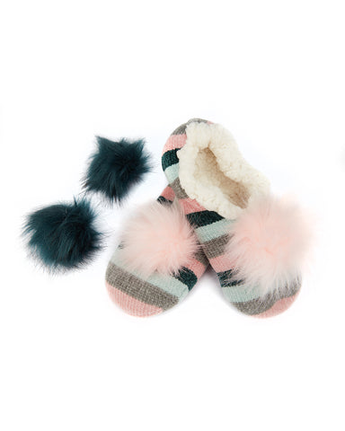 Stripe Chenille Interchangeable Pom Pom Slippers