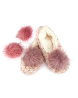 Speckled Chenille Interchangeable Pom Pom Slippers