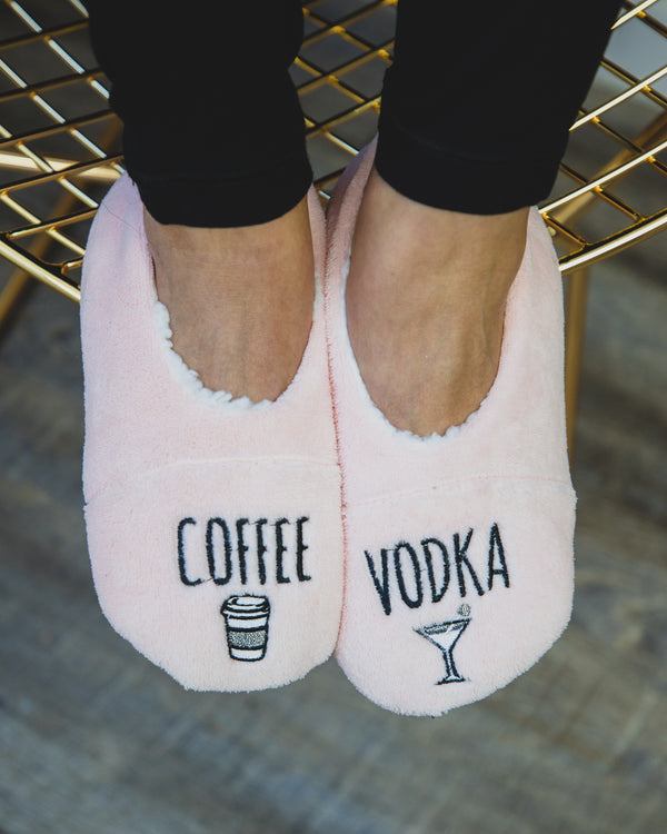 Coffee & Vodka Sherpa Lined Slippers