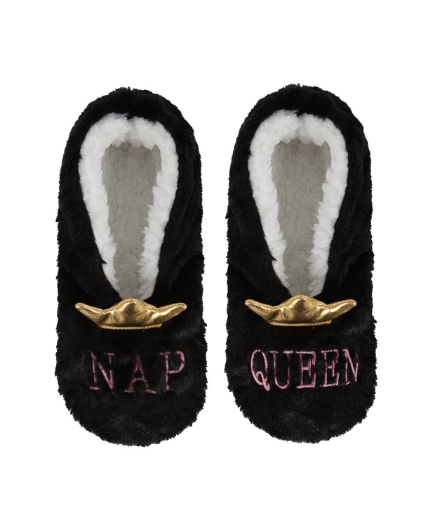 Nap Queen Sherpa Lined Slippers | Slippers By MeMoi®  | MZV05547 | Black 1